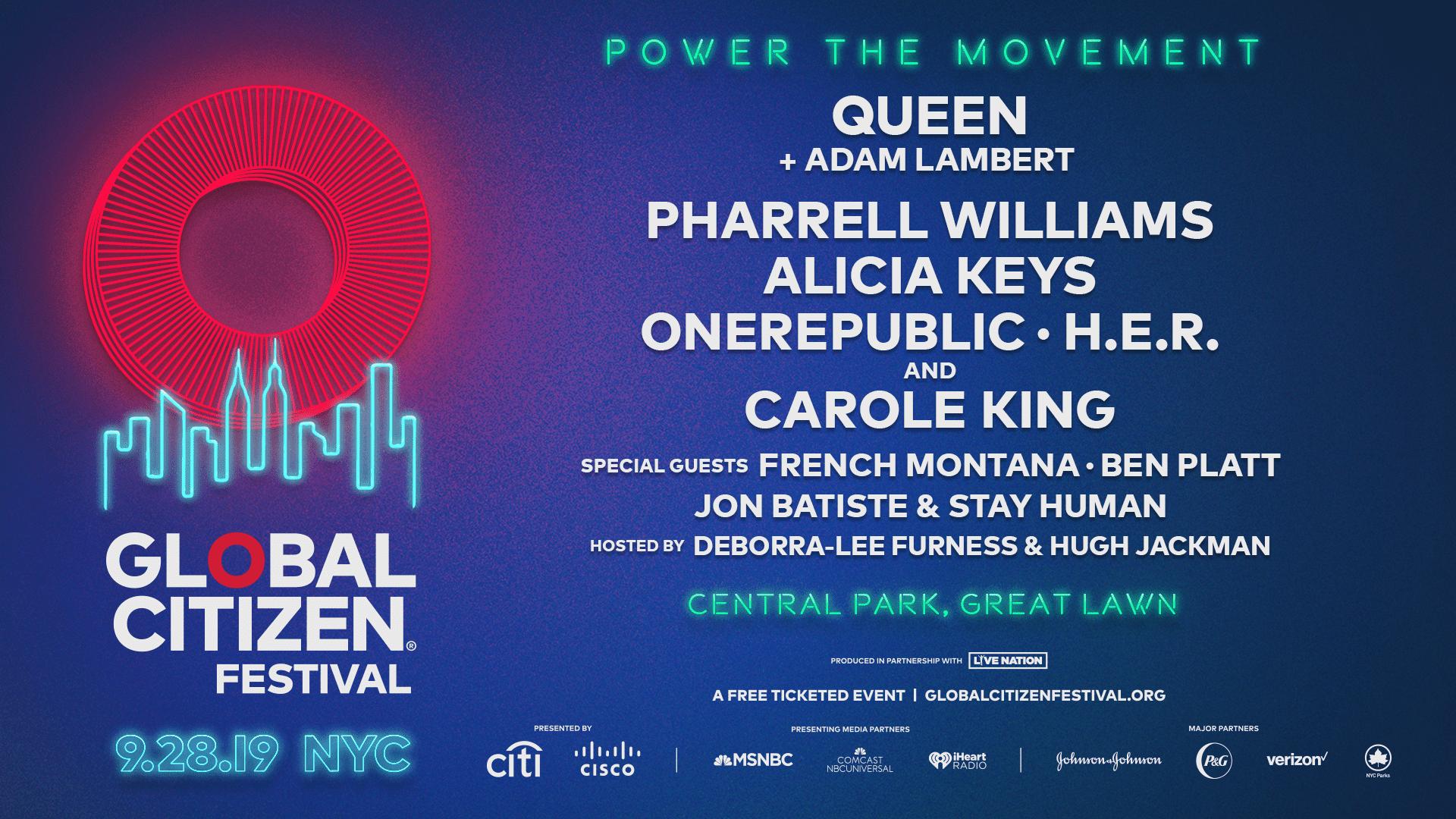 Global Citizen Festival 2020.Queen Adam Lambert Pharrell Williams Alicia Keys